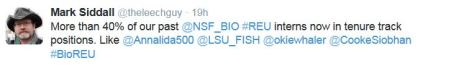 More than 40% of our past @NSF_BIO #REU interns now in tenure track positions. Like @Annalida500 @LSU_FISH @okiewhaler @CookeSiobhan #BioREU