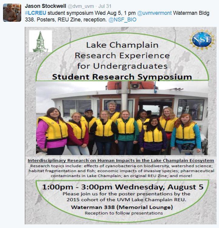 #LCREU student symposium Wed Aug 5, 1 pm @uvmvermont Waterman Bldg 338. Posters, REU Zine, reception. @NSF_BIO