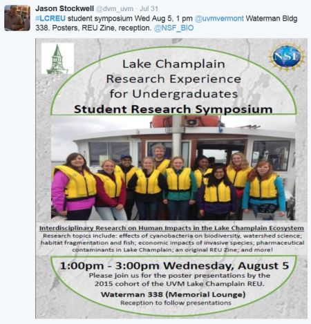 #LCREU student symposium Wed Aug 5, 1 pm @uvmvermont Waterman Bldg 338. Posters, REU Zine, reception. @NSF_BIO