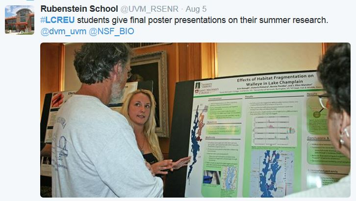 #LCREU students give final poster presentations on their summer research. @dvm_uvm @NSF_BIO