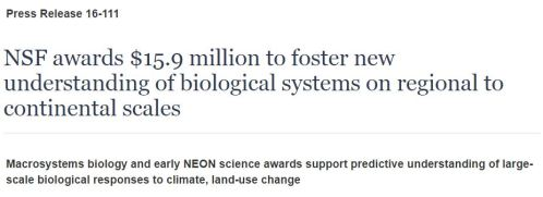 Headline: NSF awards $15.9 million to foster new understanding of biological systems on regional to continental scales.