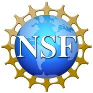 "Image of the world with ""NSF"" lettering in white."